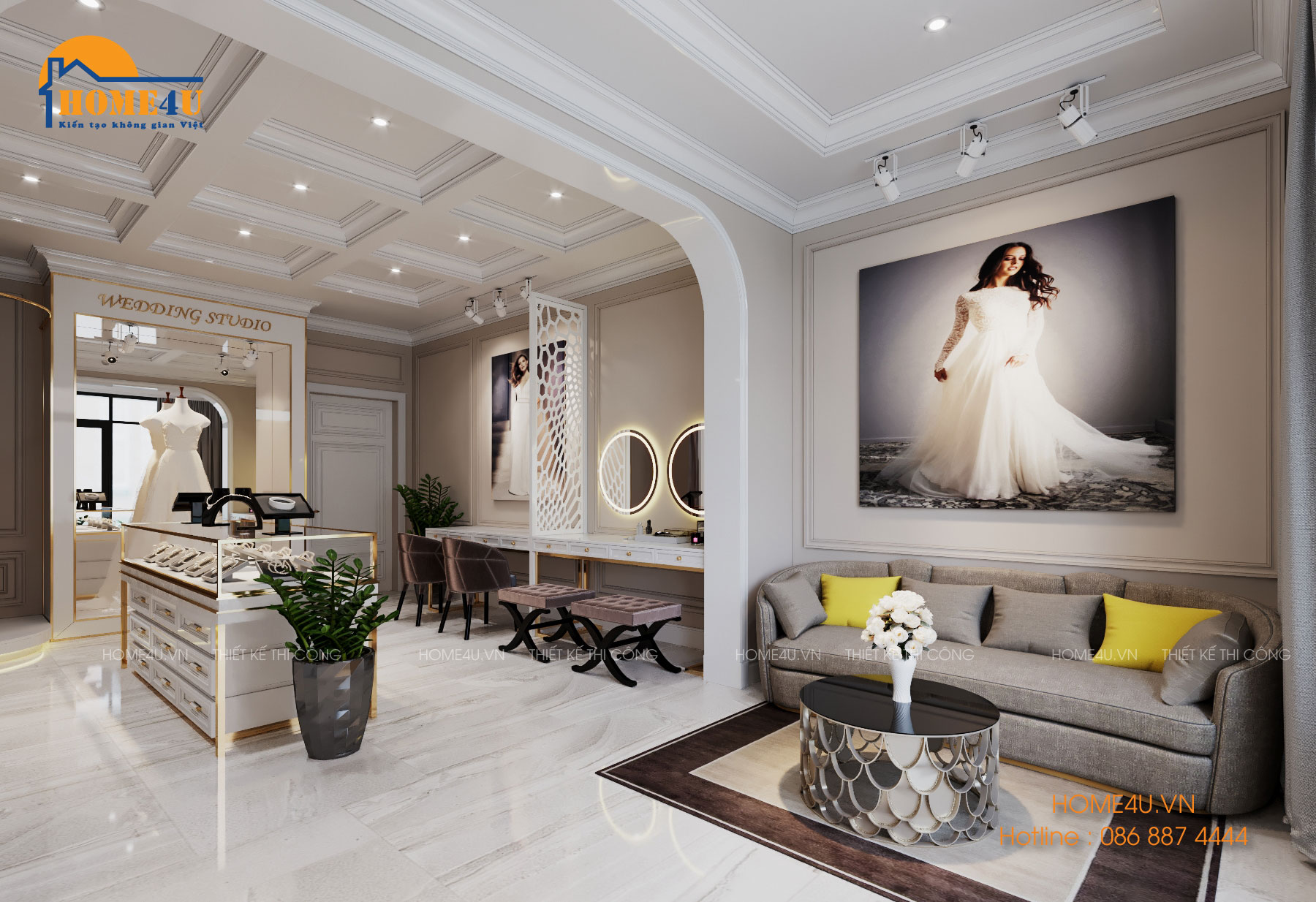 Mẫu thiết kế nội thất Studio áo cưới Luxury - NTSD2001