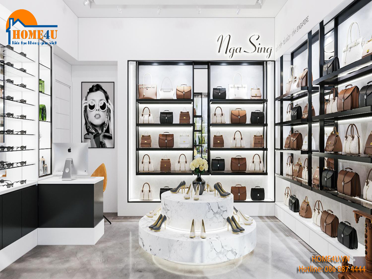 Mẫu thiết kế nội thất Showroom túi xách anh Tuấn - NTSR2001