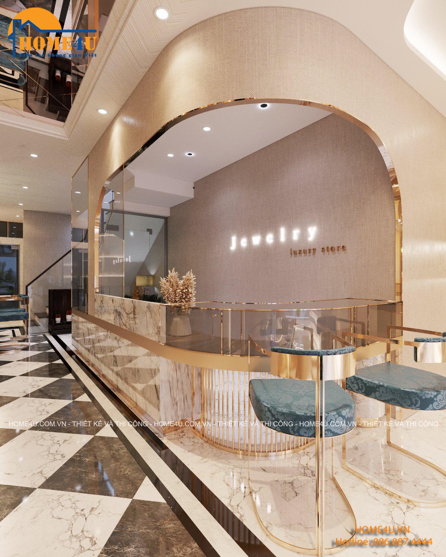 Thiết kế nội thất cửa hàng trang sức vàng bạc tại Bắc Giang - NTCH2002