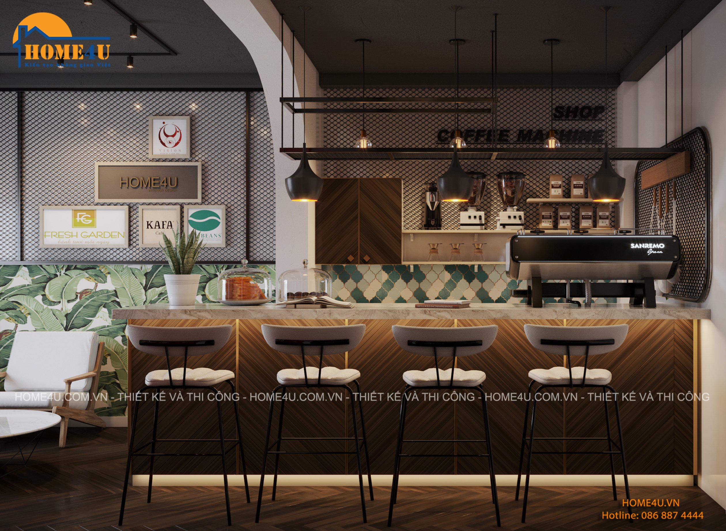 Thiết kế nội thất cửa hàng bán máy pha chế coffee tại Hà Đông - NTCH2003