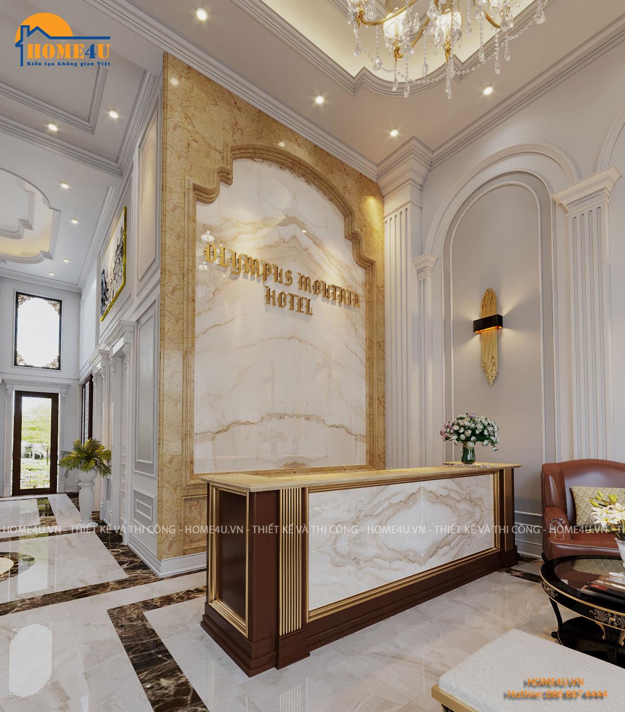 Mẫu thiết kế nội thất khách sạn tân cổ điển chị Loan - NTKS2002
