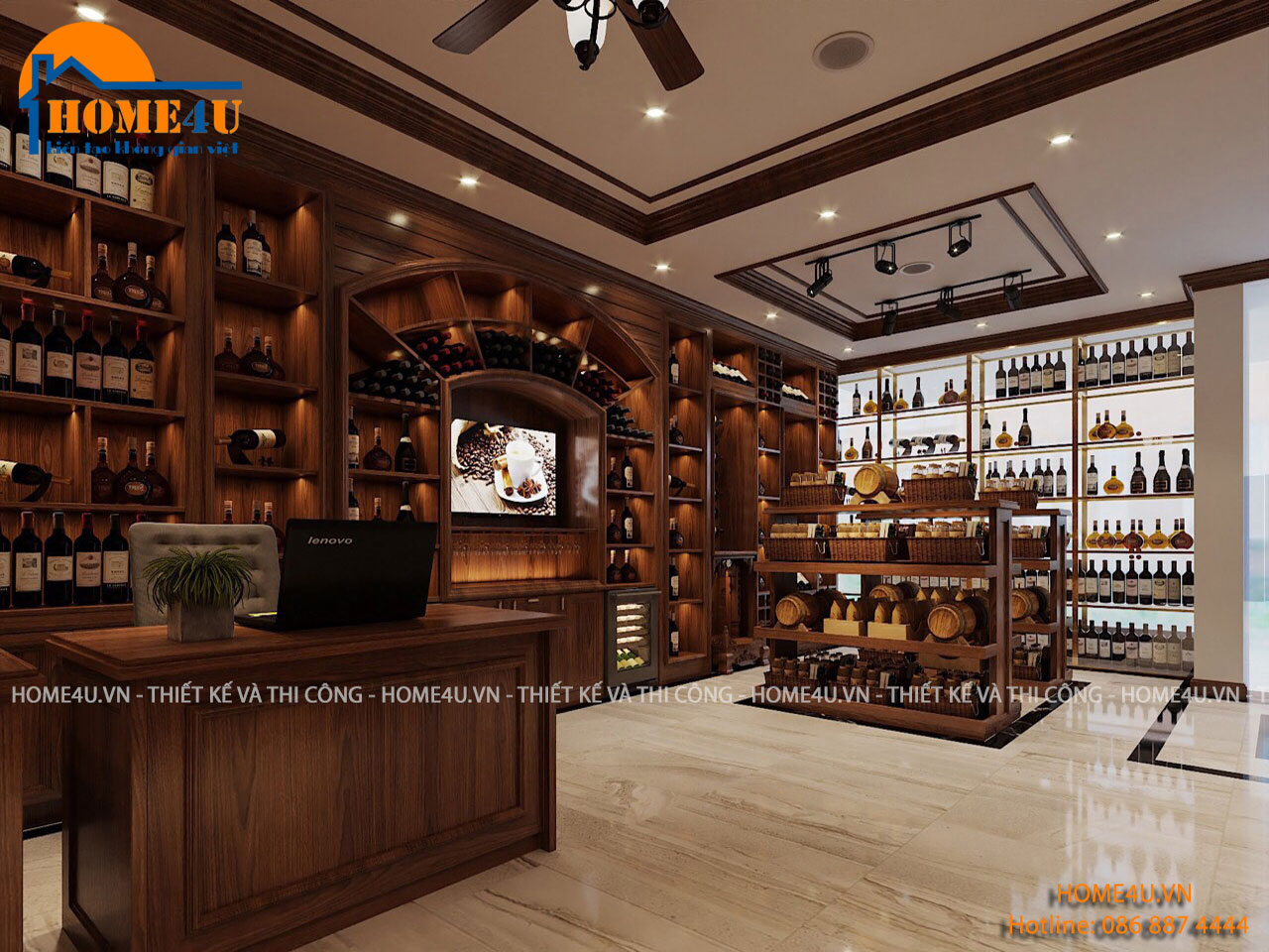 Mẫu thiết kế nội thất showroom rượu tại Trung Kính - NTSR2002