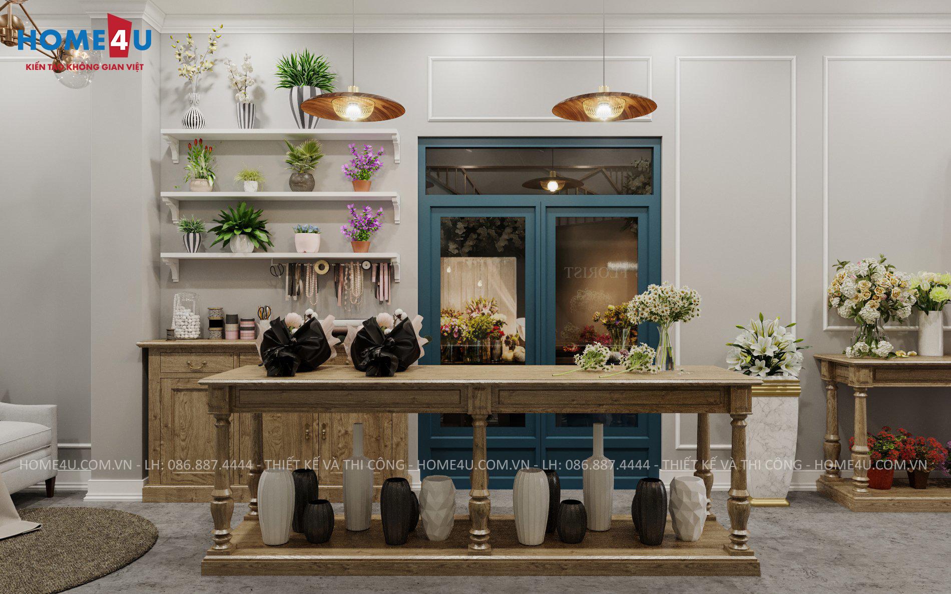 Thiết kế nội thất shop hoa tươi Mr.Tân - NTCH2006