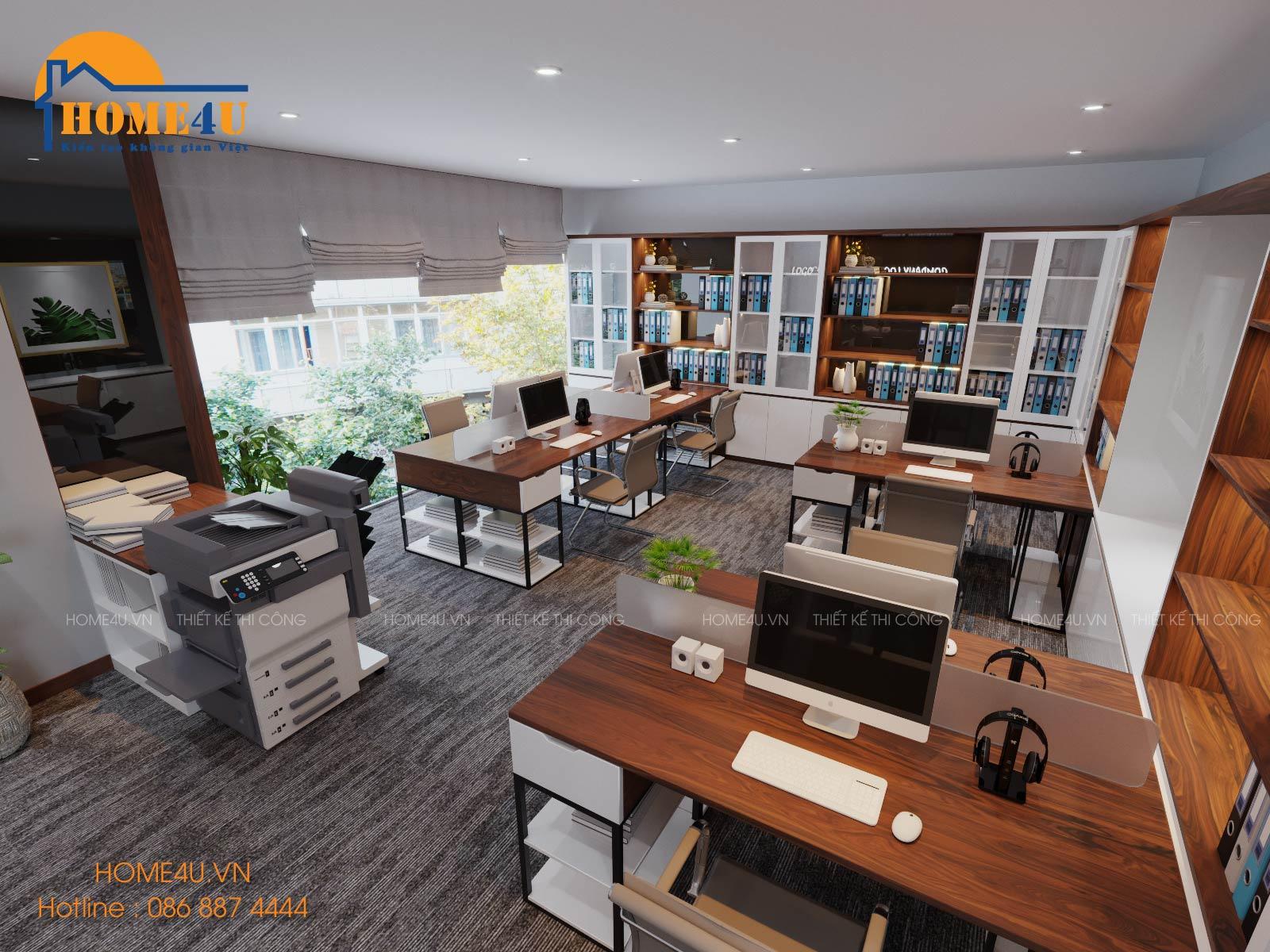 Mẫu thiết kế nội thất văn phòng hiện đại chị Loan - NTVP2002